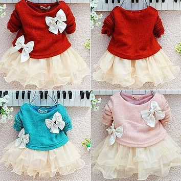 Winter Princess wedding Dress for Baby girl Lovely Baby Girls Dress Knit Crochet Sweater Tops Lace Bowknot Dresses Clothing