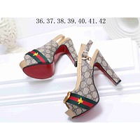 Gucci Popular New Style Women Princess Small Bee Embroidery High Heels High-Heeled Shoes Sandals I-KSPJ-BBDL