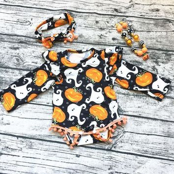 2018 new hot Baby Girl Boutique halloween Pumpkin outfits Romper Pom pom Romper newborn girl halloween baby outfit with necklace