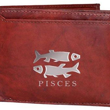 Pisces Zodiac Sign Men's Leather Wallet