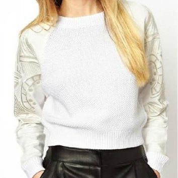 Casual Style Round Collar Long Sleeve Embroidered Knitwear
