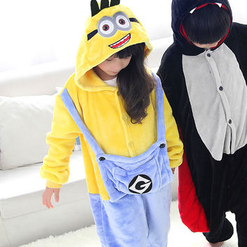 Minion Warm Soft Cosplay Halloween Costume for Kids
