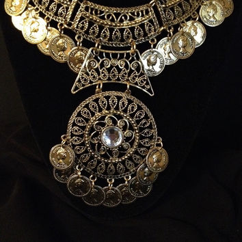 Turkish Bohemian Gold Coin Statement Necklace