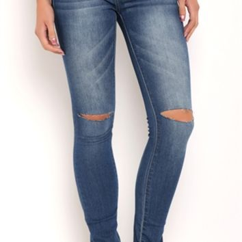 Reign Denim Jeggings with Slashed Knees