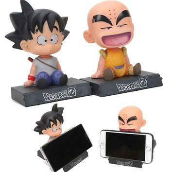 12cm Son Goku phone holder Dragon Ball Z Son Goku Krillin Bobble Head PVC Action Figure toy model doll Car decoration gifts
