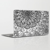 Shades of Grey - mono floral doodle Laptop & iPad Skin by Micklyn