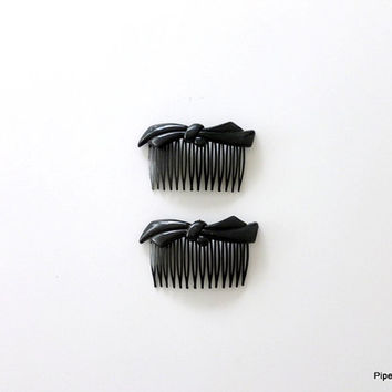 Black Plastic Hair Combs 1980s Molded Plastic Hair Combs with Bows