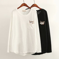 Cat Embroidery Pocket Long Sleeve Shirt