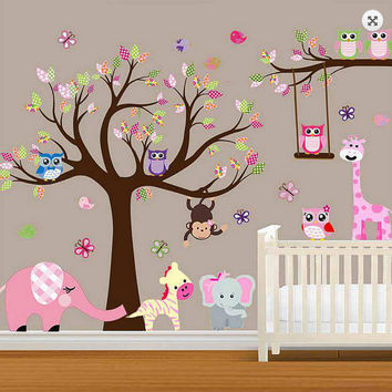 LARGE Baby Nursery Woodland Wall Decal, Baby Girl Wall Decal, Children Wall Decals, Wall Decals Nursery, Woodland Nursery Decal Girl
