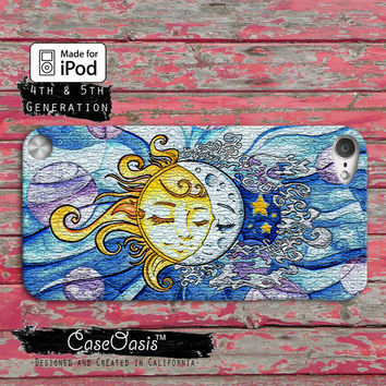 Sun and Moon Art Painting Cute Sky Tumblr Case iPod Touch 4th Generation or iPod Touch 5th Generation Rubber or Plastic Case