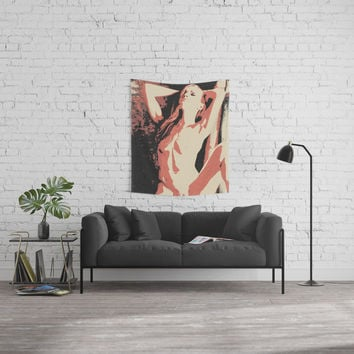 I just want to set the world on fire - sexy redhead girl sketch Wall Tapestry by hmdesignspl