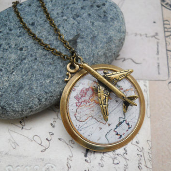 Globetrotter Necklace - Antique World Map with Aeroplane Charm