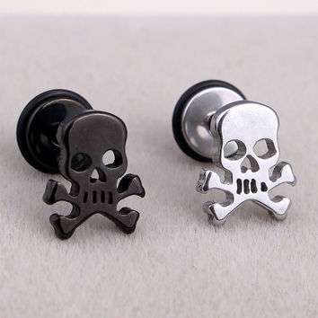 Fashion Punk  Hiphop Men Small Stainless Steel Silver Gold Black Earrings Gothic Pirate Skulls Stud Earring Brincos Jewelry