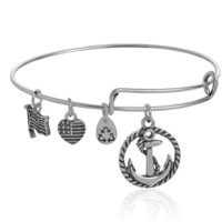 Alex and Ani style ship's anchor pendant charm bracelet,a perfect gift !