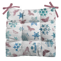 Belle13 Snowflakes and Butterflies Outdoor Seat Cushion