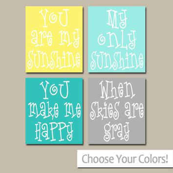 You Are My SUNSHINE Wall Art, CANVAS or Prints Baby Girl NURSERY Decor, Nursery Rhyme, Girl Quote, Girl Bedroom Decor, Set of 4 Wall Decor
