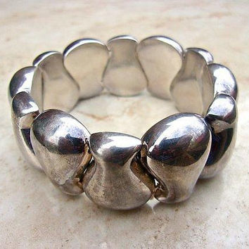 Sterling Silver Modernist Stretch Bracelet, Puffy Panels, Vintage
