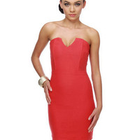 Sassy Red Dress - Strapless Dress - Coral Red Dress - $33.00