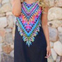 Sleeveless A-Line Tribal Printed Dress