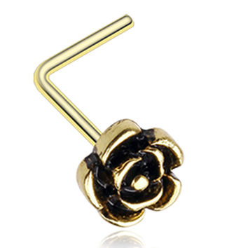 Golden Color Vintage Rose Icon L-Shaped Nose Ring - 20 G - Sold as a Pair