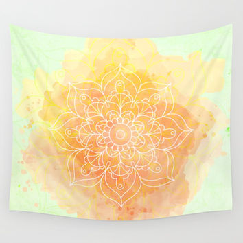 Watercolor Mandala // Sunny Floral Mandala Wall Tapestry by cadinera