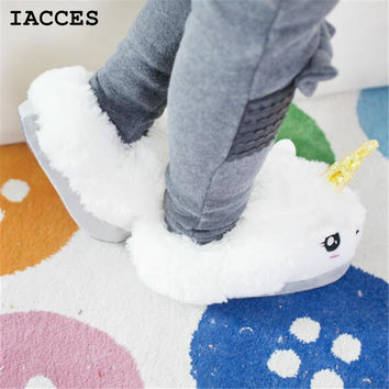 Women and men Plush Unicorn Slippers Cosplay Chaussons Licorne Creative Funny Home Soft Shoes PP Cotton with Heel Pantufas