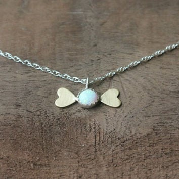 Opal and heart necklace, heart necklace, silver necklace, best friend gift, gift for her, October birthstone