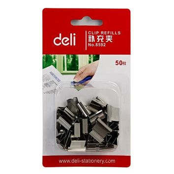 50 Pcs Pack Deli Quality Metal Paper Clip Refills Binding Office School Supplies Stationery Accessories