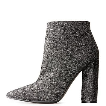 Qupid Glitter Pointed Toe Booties