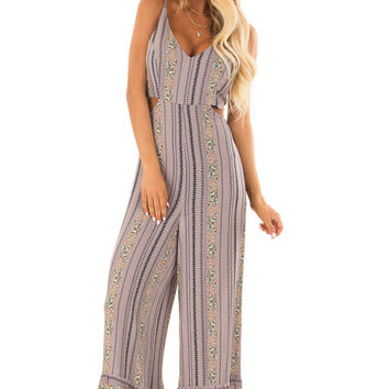 Dusty Lavender V Neck Jumpsuit with Cutout Detail