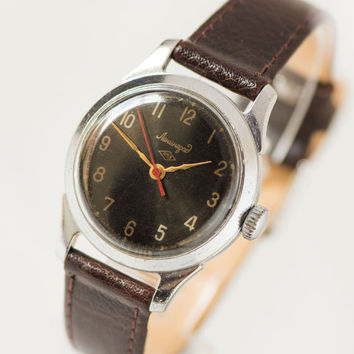 Rare Soviet wristwatch Leningrad, unisex dress watch black face, mechanical boyfriend's watch, classical watch, genuine leather strap new