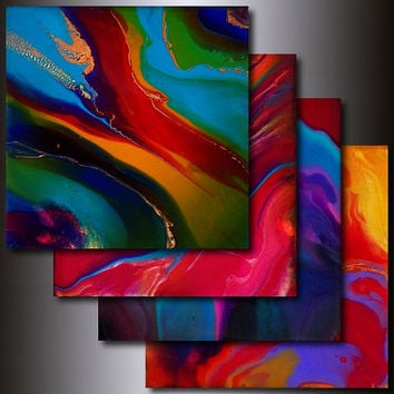 Art Print Set: 4 Multi Colored 8 x 8 Abstract Giclees