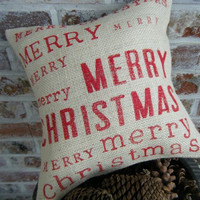 Merry Merry Merry Christmas Burlap Pillow by RamonaOwenDesigns