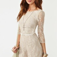 Metallic Lace Romper  in  Clothes at Nasty Gal