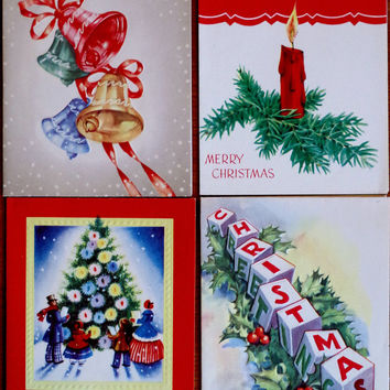 Vtg 1950s Christmas Cards- Set of 4- Bright  Lithographs By Hawthorne House- UNUSED- Christmas Blocks and Bells Christmas Tree Candle Holly