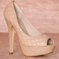 Quilt Chic Quilted Peep Toe Platform Pumps Jay-53 - Taupe