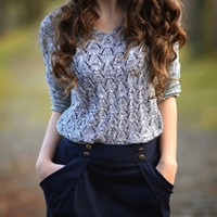 Sweater Grey Soft V Neck Hollow Fall Winter Fashion Sweater