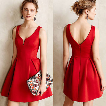 Women's Fashion Summer V-neck Backless Corset Pleated One Piece Dress [9893987981]
