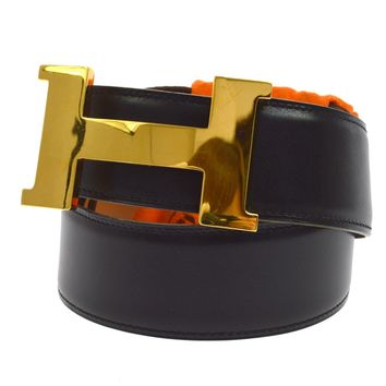 Authentic HERMES H Buckle Vintage Belt Box Calf Black Gold France #70 AK12587