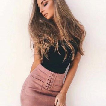 Leather Suede Lace Up Bandage Skirt