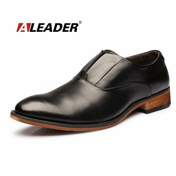 Spring Fashion Leather Oxfords for Man Casual Slip On Formal Business Shoes Oxfords