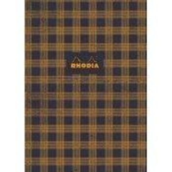 "Heritage Collection Book Block Notebook Tartan"" 90g Ivory Paper, 80 Graph Sheets, Numbered, 9 3/4 x 7 1/2"" [Rhodia]"
