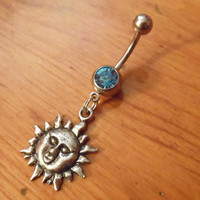 Belly button ring - Sun belly ring with light blue gem