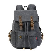 Vere Gloria Men Women Canvas Leather Backpacks Bags for Hiking School Travel Biking Trekking Mountaineering Picnic Sports and other Outdoor Activities, Upgrade Version, Drawstring, Multi-pockets, Vintage and Fashion (Black)