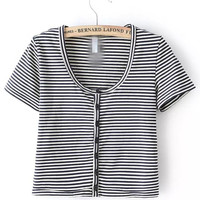 Black and White Striped Short Sleeve Cropped Cardigan T-shirt