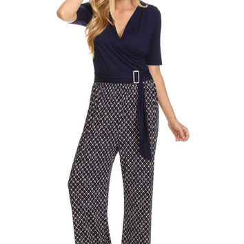 Retro Pattern Printed Jumpsuit With Solid Bodice