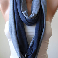 Circle - Infinty - Loop - Grey and Dark Blue Scarf