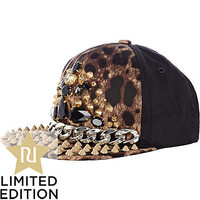 Brown leopard print studded chain trucker hat