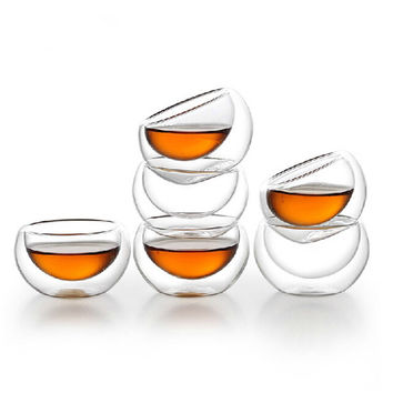 6 pcs 50ML Heat Resistant Double-wall Layer Glass Tea Cup