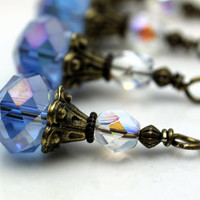 Vintage Style Blue AB Rondelle Crystal and Clear AB Czech Bead Dangle Charm Drop Set